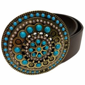 Danier Leather Turquoise Stone Buckle Belt
